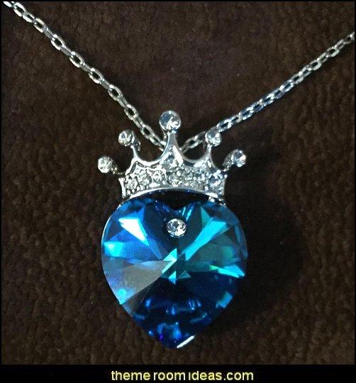 My Queen Crown Purple Love Heart Pendant Necklace
