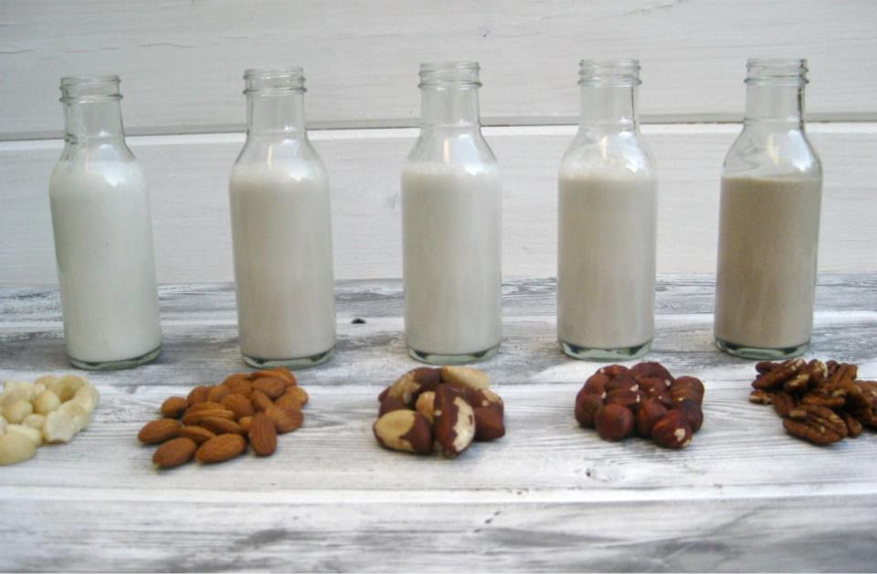 Leches vegetales caseras en diferentes botellas de vidrio
