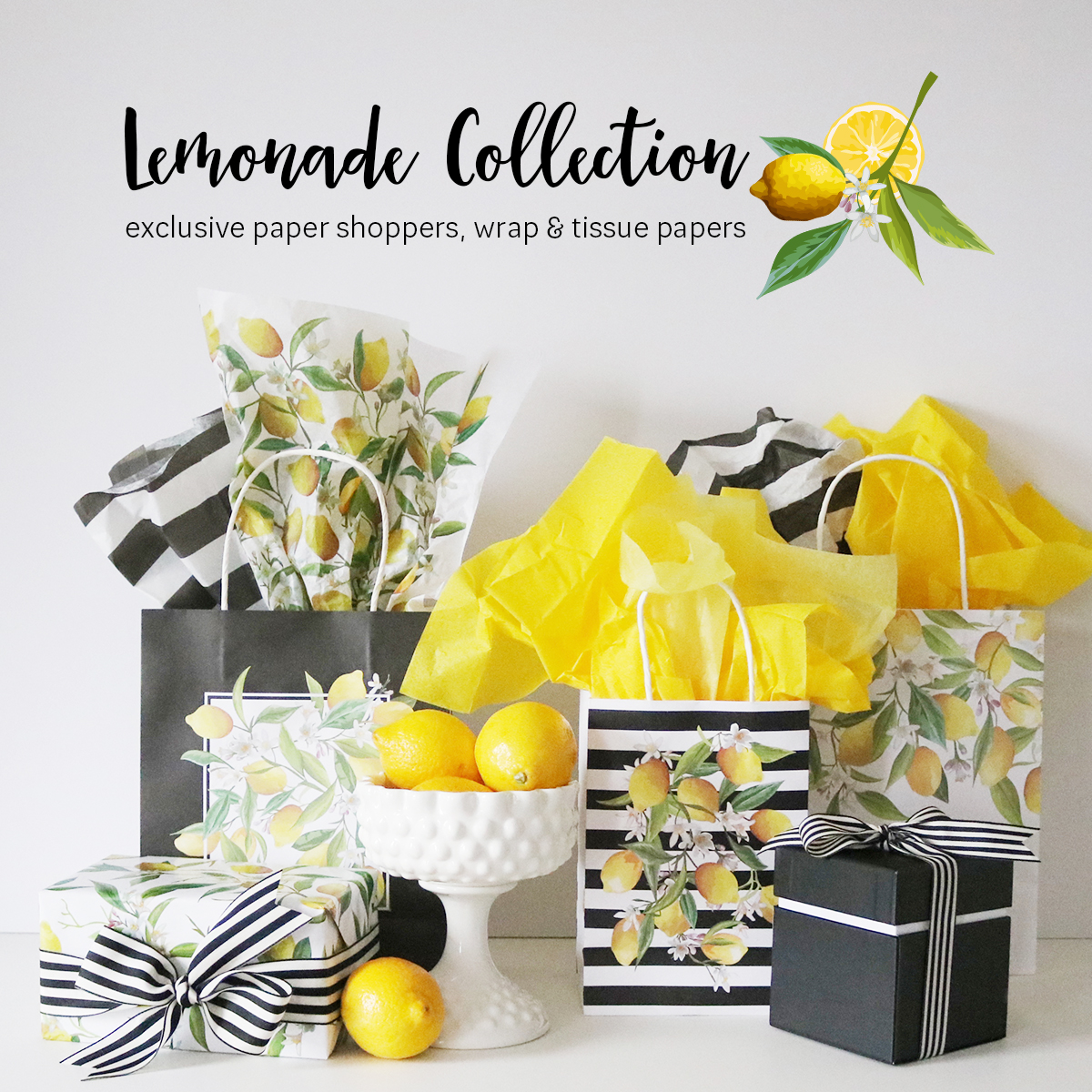 Lemonade Collection - exclusive paper shoppers, wrapping and tissue papers. | Creative Bag