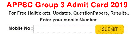 APPSC Group 3 Admit Card 2019