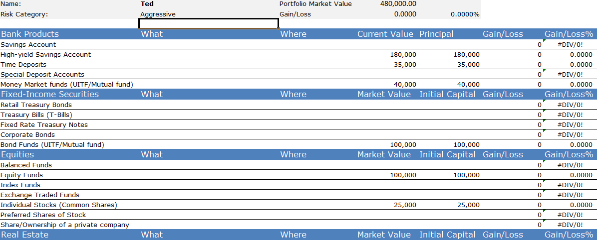 sample investment portfolio templates - personal finance my portfolio related keywords personal
