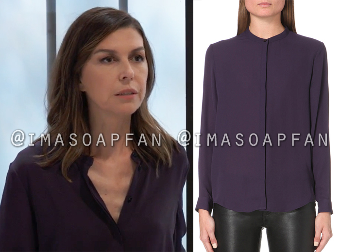 11b953ea85af3 Anna Devane s Collarless Purple Blouse - General Hospital