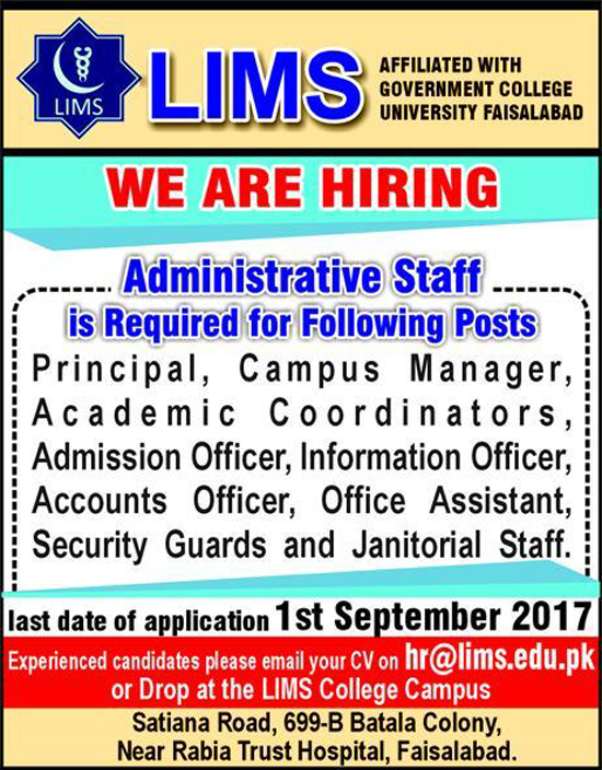 Principle, Campus Manager, Coordinators LIMS jobs In Faisalabad Aug 2017