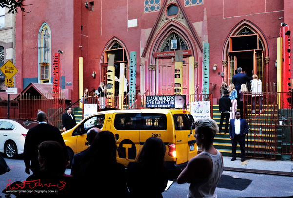 Norfolk street view, taxi and Art Hears Fashion venue. Street Fashion Sydney - New York Edition photographed by Kent Johnson