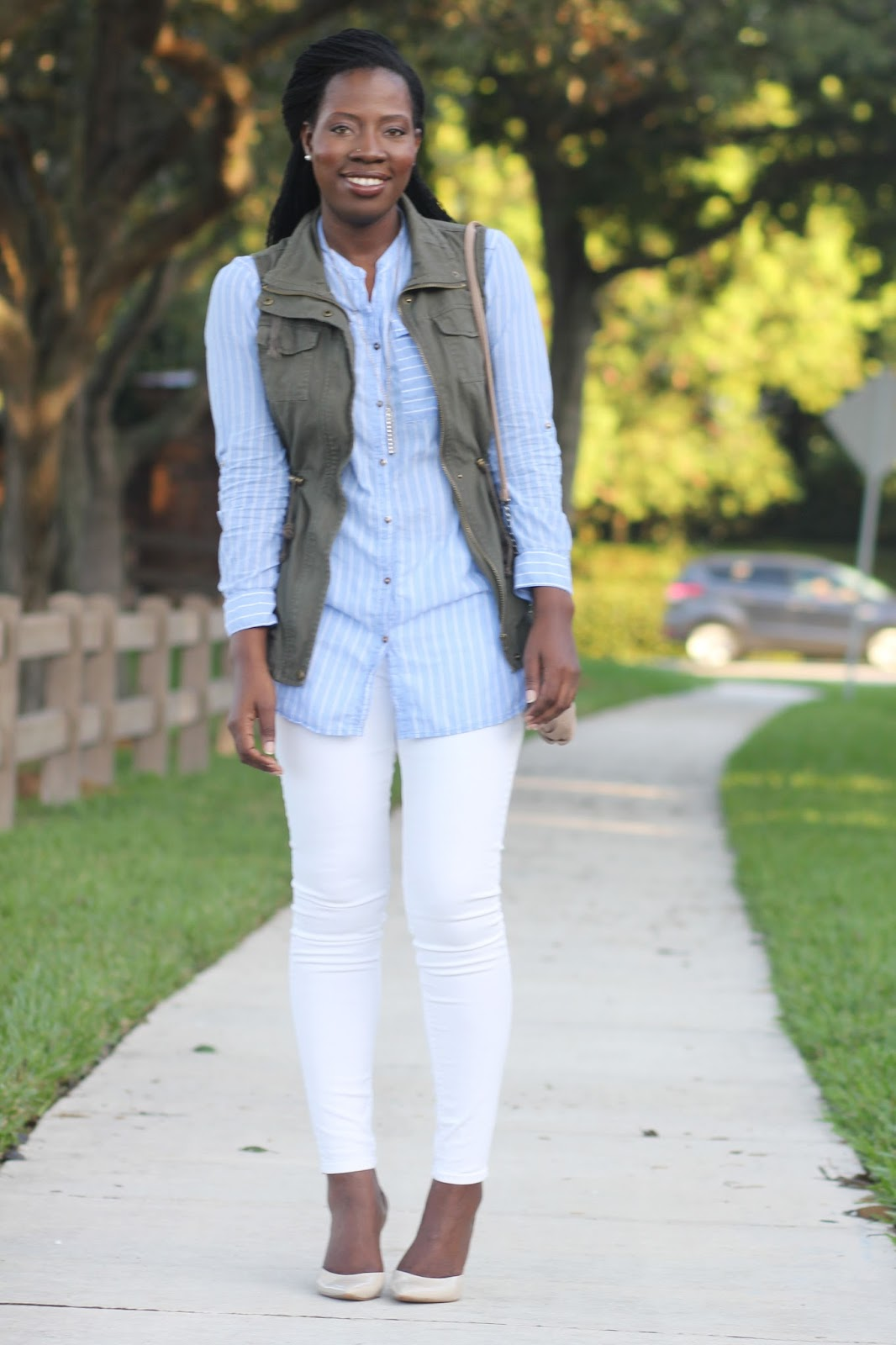 Outfit Consist of Shirt Dress (H M)   Olive Vest (Nordstrom Rack)   Skinny  Jeans (Express)   Slingback Pumps (Guess)   Purse (Nine West) d6716ec267a4