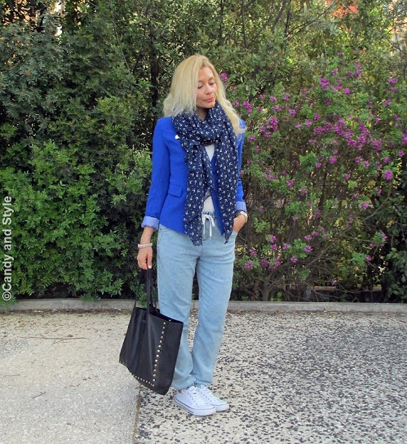 BlueBlazer+AnchorsScarf+DenimJoggers+BlackTote+WhiteSneakers+PinkLips - Lilli Candy and Style Fashion Blog