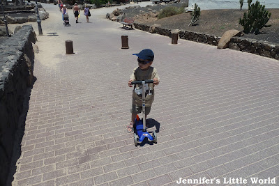 Child scooting in Lanzarote