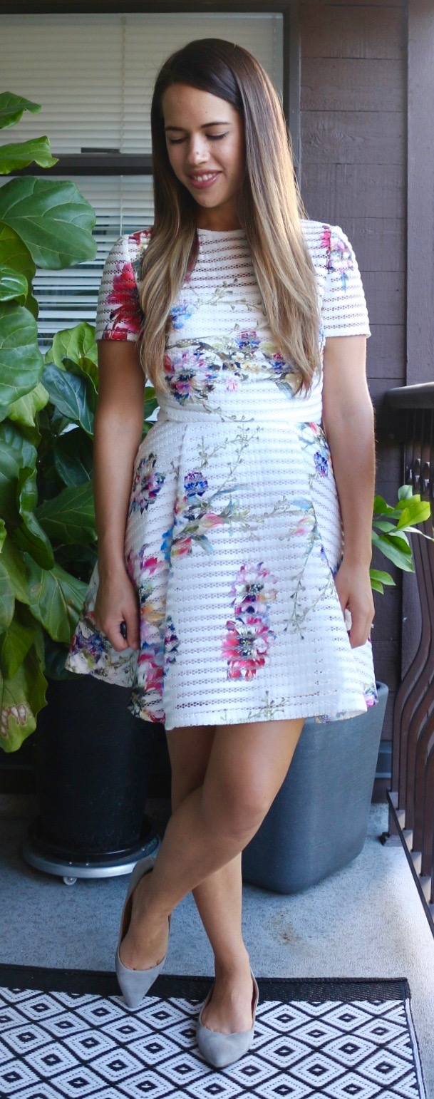 Jules in Flats - Forever 21 Floral Stripe Fit and Flare Dress