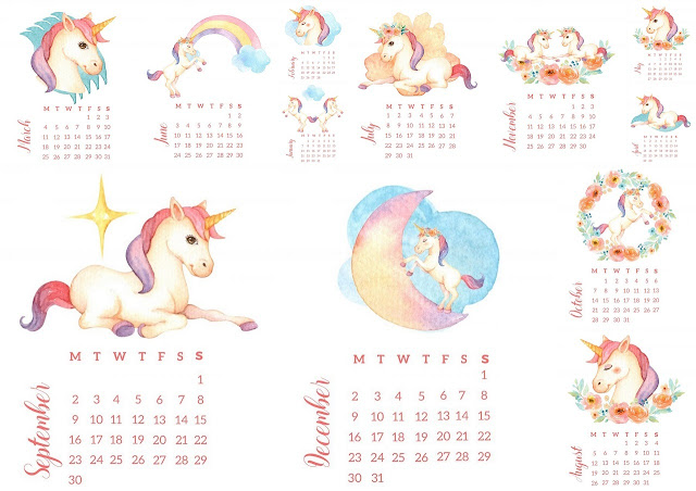 Unicorns 2019 Free Printable Calendar.