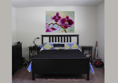 """Serenity"" orchid painting, test photo for bedroom. ©2017 Tina M.Welter"