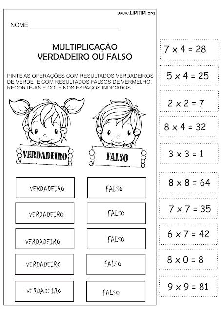 Atividade Multiplicação Recorte e Colagem primeiro Ciclo