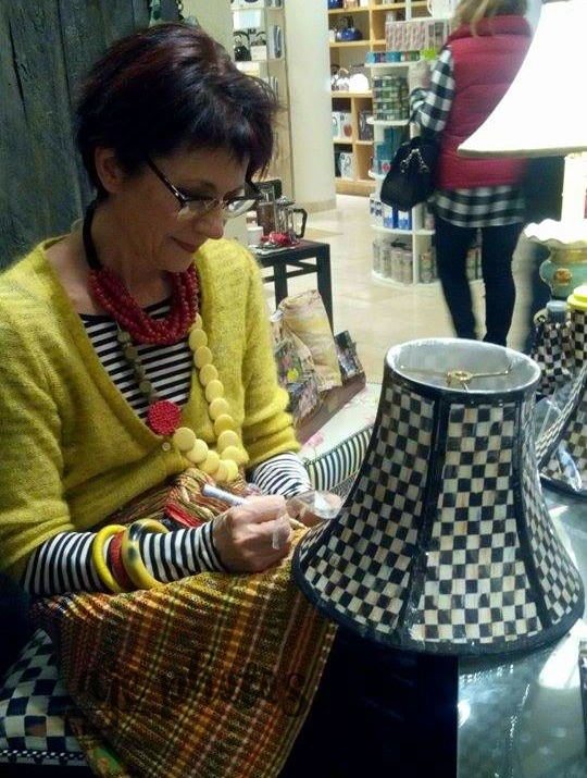 Rebecca proctor mackenzie childs creative director autographing my lampshade