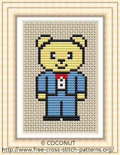 Wedding bear groom, Free and easy printable cross stitch pattern
