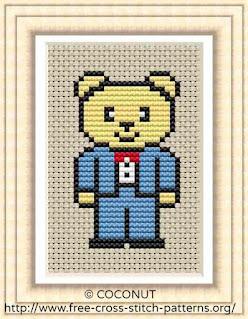 Wedding bear groom, Free and easy printable cross stitch pattern