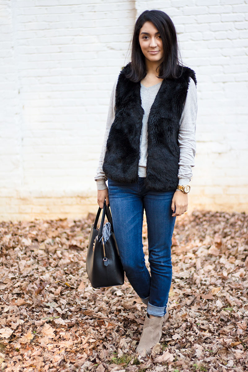 Madewell faux fur vest  and cuffed Jeans