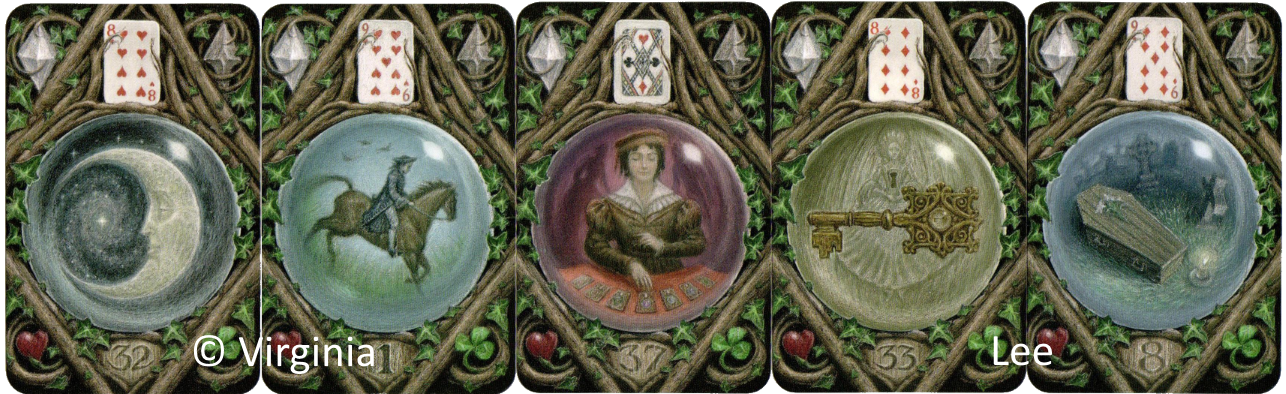 The Enchanted Lenormand, moon,rider,diviner,key, coffin Caitlin Matthews Virginia Lee