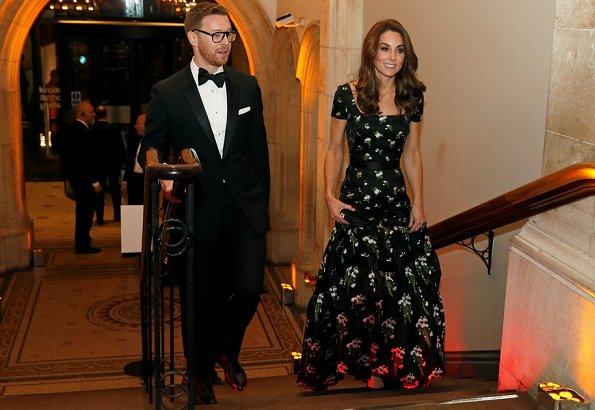 Kate Middleton wore Alexander McQueen dress, Jimmy Choo pumps, Kiki McDonough earrings, Prada clutch