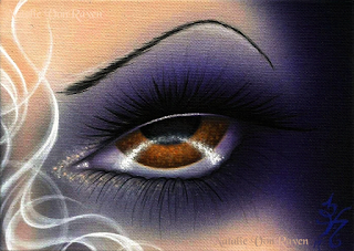 Fantasy lowbrow acrylic eye painting by Natalie VonRaven