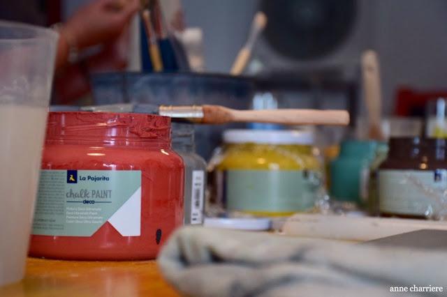 www.annecharriere.com, l'atelier d'anne, benahavis, taller pintura, pintura tiza, pintura leche,