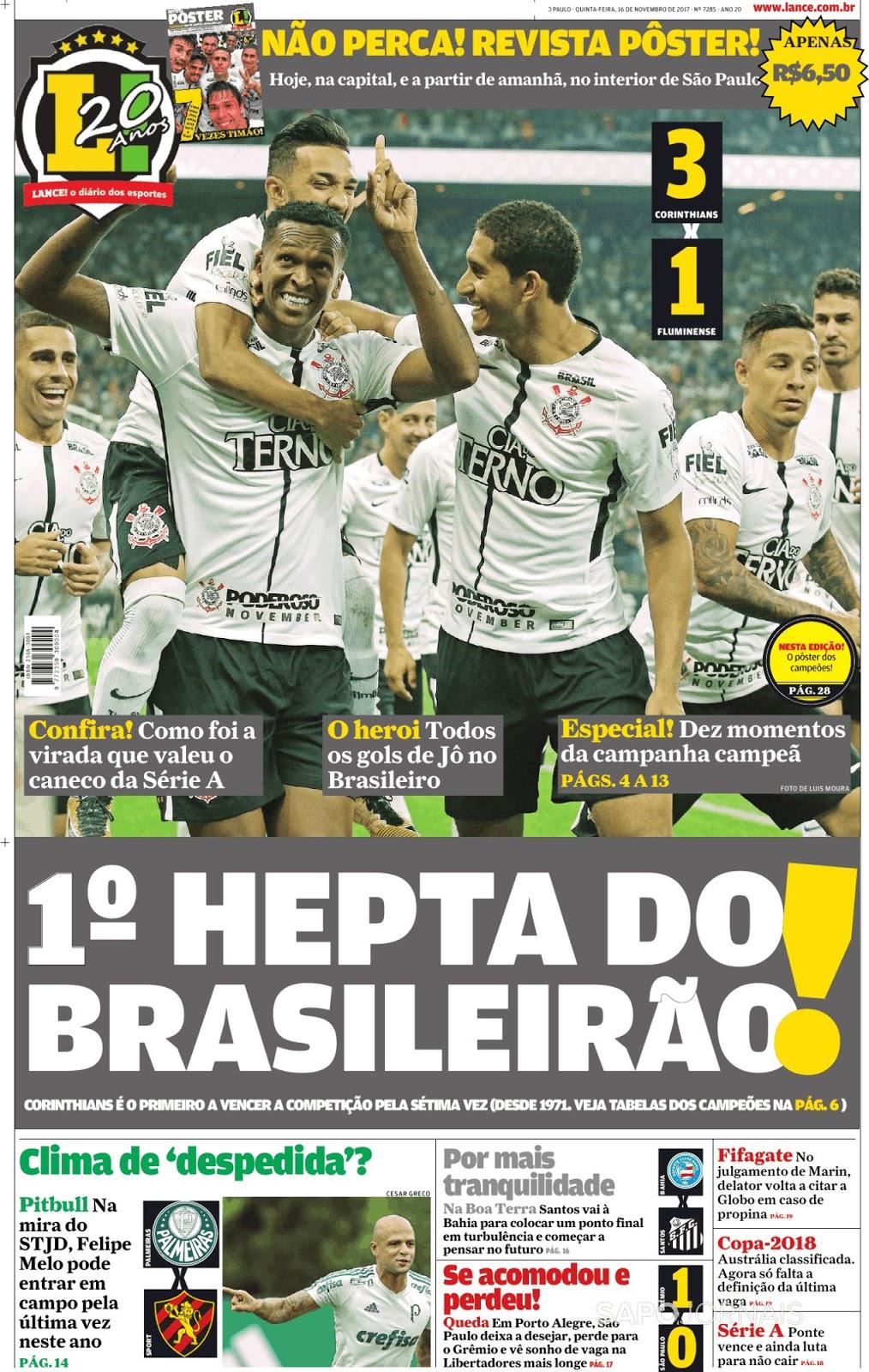 Corinthians vira jogo contra Fluminense e é heptacampeão brasileiro (vídeo  e pôster) b37a26d561d83