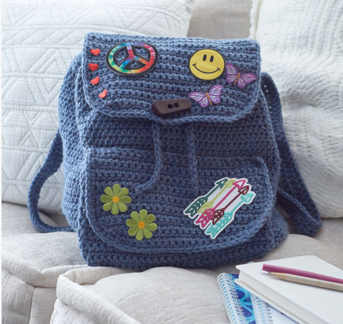 Patch Backpack Red Heart Free Crochet Pattern | Kristi Simpson