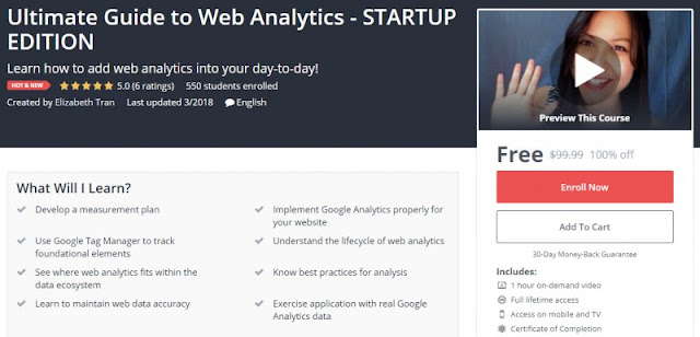[100% Off] Ultimate Guide to Web Analytics - STARTUP EDITION| Worth 99,99$