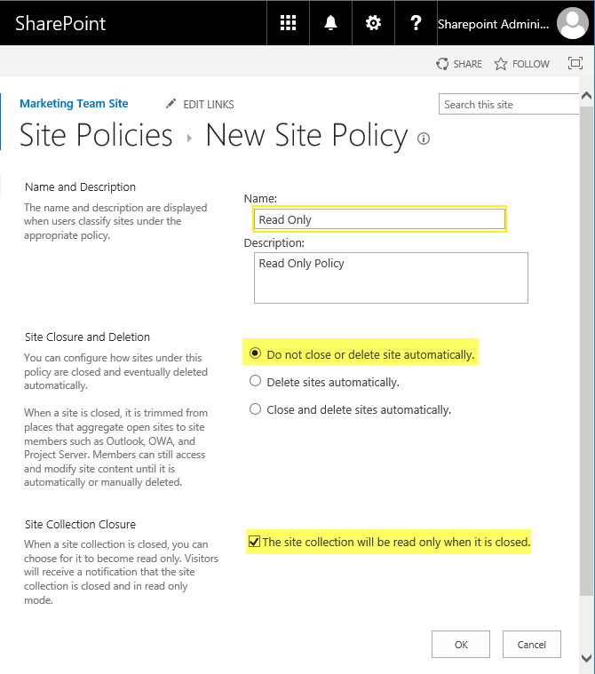 sharepoint online make site read only
