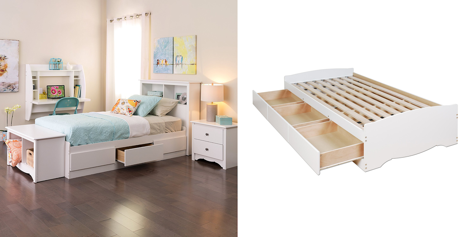 Head over to Amazon and get this Prepac White Twin Mateu0027s Platform Storage Bed with 3 Drawers on sale for $132 (Reg. $336.16). The drawer run on smooth ...  sc 1 st  qpanion & $132 (Reg. $336.16) + Free Ship Prepac White Twin Mateu0027s Platform ...