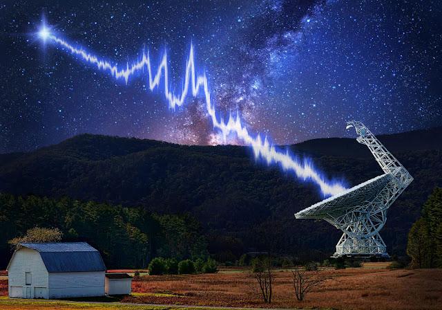 fast radio burst - ilustração - sinais de rádio vindos do espaço