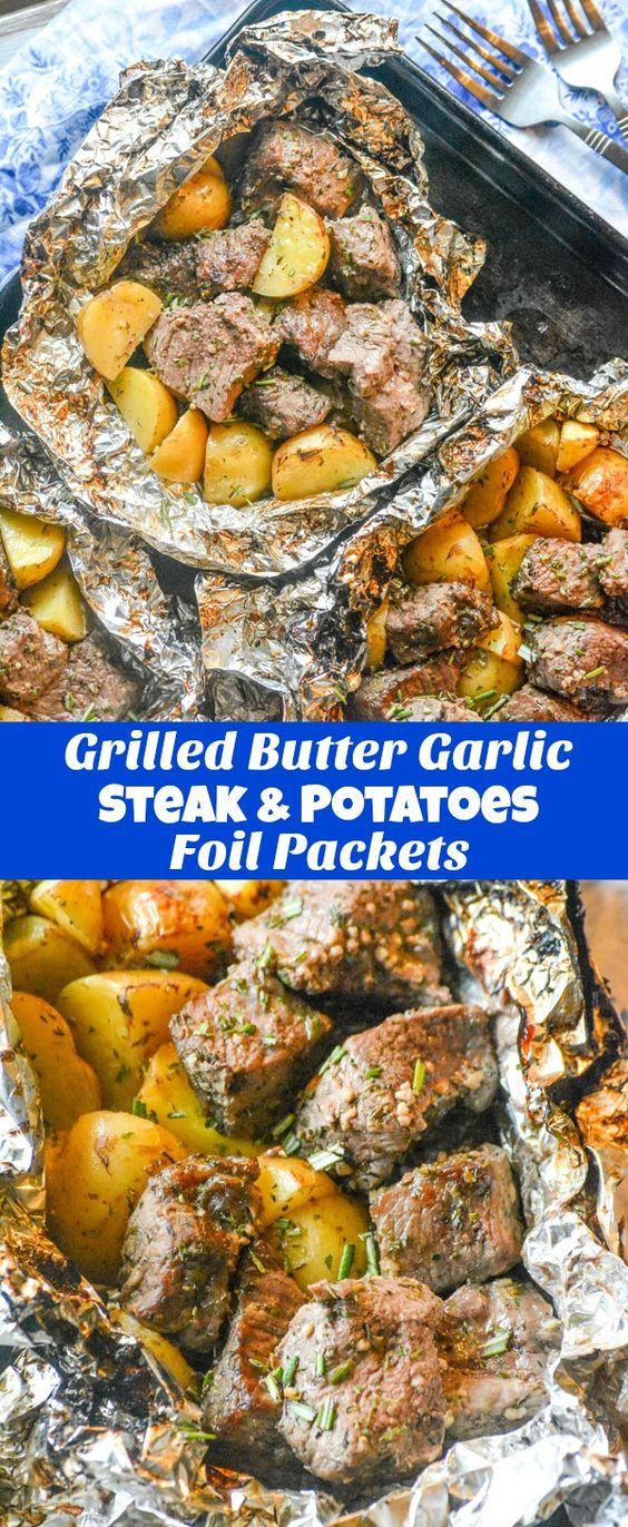 Easy Grilled Butter Garlic Steak & Potatoes