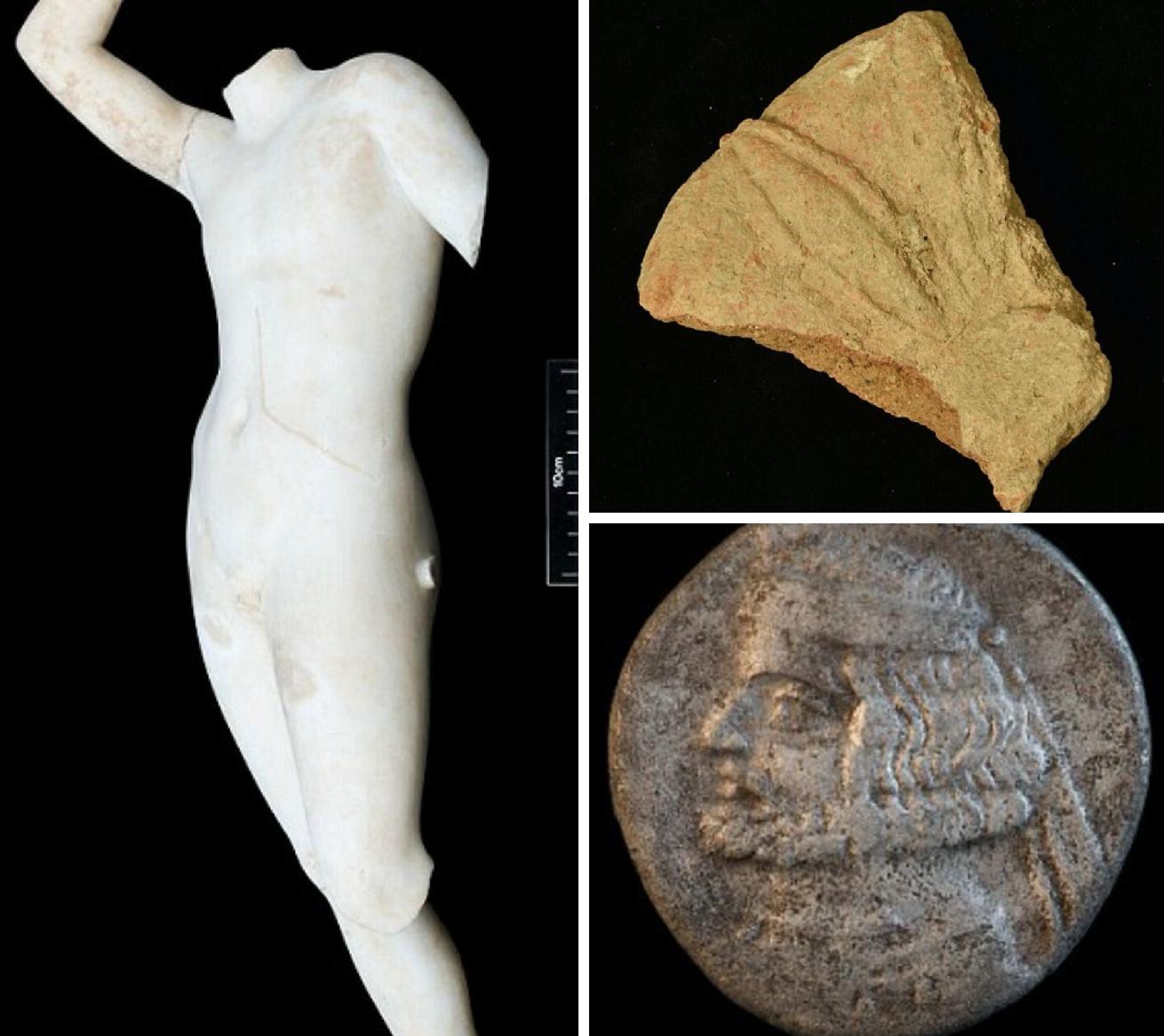 Ελληνικά νομίσματα, κεραμίδια από τερακότα καθώς και ελληνικά και ρωμαϊκά αγάλματα εντοπίστηκαν επίσης στην περιοχή, που βρίσκεται στο ιρακινό Κουρδιστάν. Μεταξύ άλλων, βρέθηκε ένα άγαλμα γυναικείας μορφής που πιστεύεται ότι είναι η Περσεφόνη, η ελληνική θεά της βλάστησης, και ένα άγαλμα στο οποίο φέρεται να απεικονίζεται ο Άδωνις.