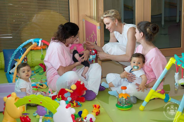 Prince Albert and Princess Charlene of Monaco attended the opening of a new nursery at the Princess Grace hospital