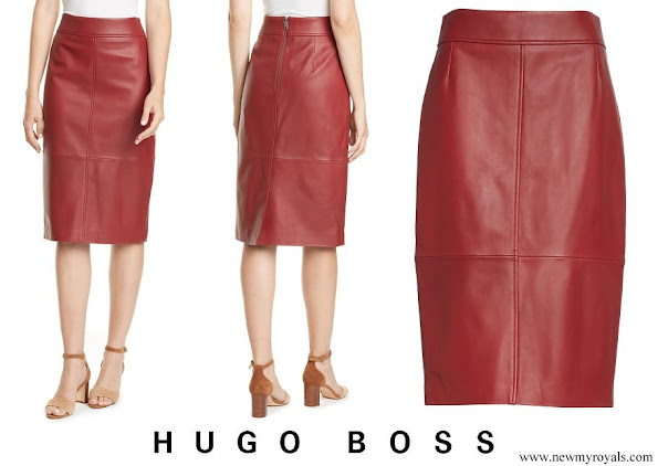 Meghan Markle wore Hugo Boss Selrita Leather Pencil Skirt