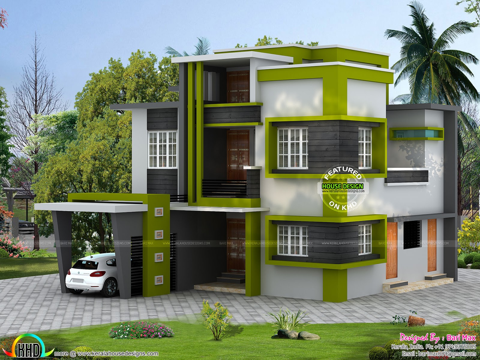 Contemporary 5 Bedroom House In 1790 Sq Ft Kerala Home Design - House-of-bedrooms-style