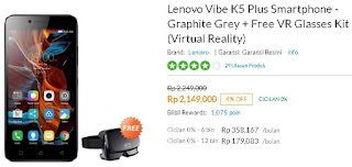 Harga Terbaru Lenovo Vibe K5 Plus dengan bonus VR Glasses Kit (Virtual Reality)