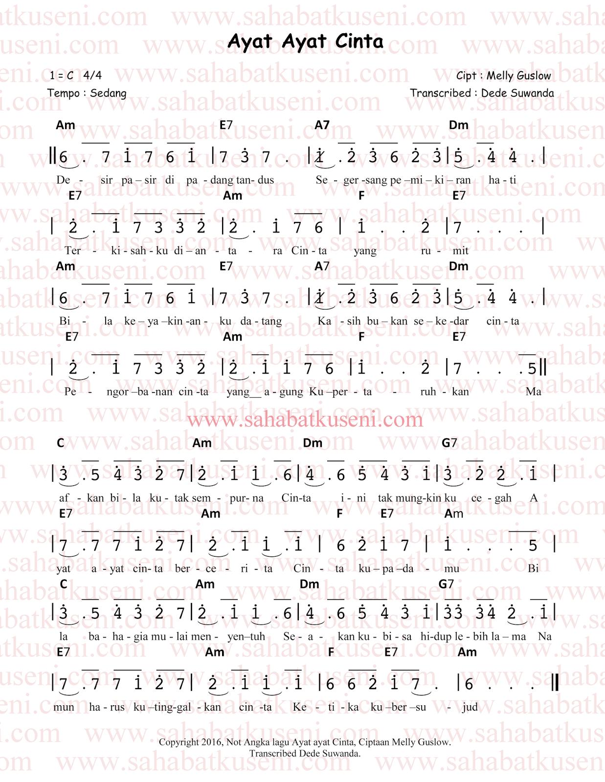 not angka lagu ayat-ayat cinta rossa