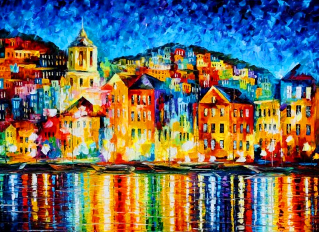 Cuadros modernos pinturas y dibujos paisajes con for Ver colores de pintura