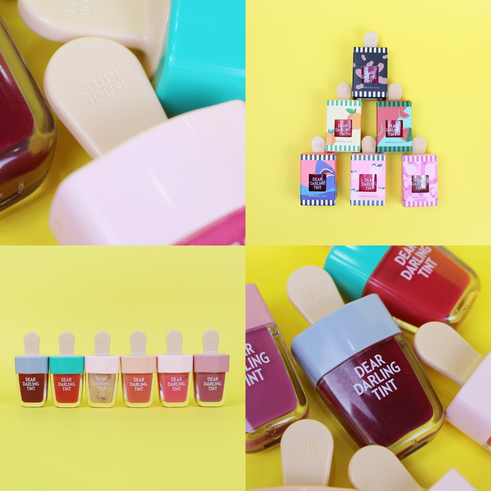Etude House Dear Darling Water Gel Tint Ice Cream Edition Full Range First Of All The Packaging Is So Cute With 45g Product Lip Tints Can Be Applied A Small Doe Foot Brush