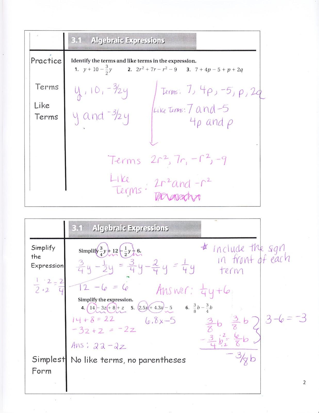 Ms. Jean's Classroom Blog: 3.1 Algebraic Expressions