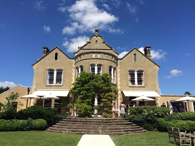 Felix House Hotel Cambridge set up for outdoor summer wedding in Britain