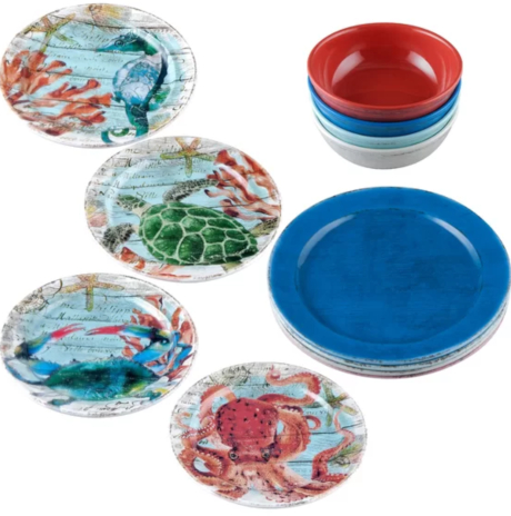 Sea Life Blue Red Melamine Dinnerware Plates