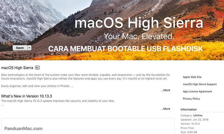 Apple telah merilis Sistem Operasi terbaru macOS High Sierra. Artikel ini akan membahas bagaimana cara membuat bootable installer macOS High Sierra di USB Flashdisk di Terminal dengan mudah dan cepat.