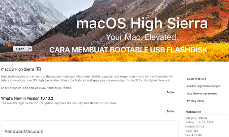 Cara Membuat Bootable macOS High Sierra di USB Flashdisk