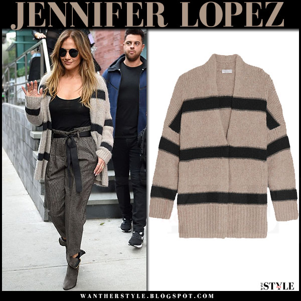Jennifer Lopez in beige striped knit cardigan brunello cucinelli what she wore street style