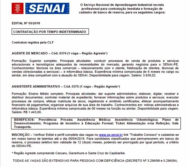 SENAI Santa Cruz abre vagas para Agentes de Mercado e Assistentes Administrativos