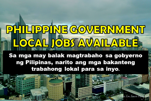 Are you looking for a government job? The following are job vacancies for you. If interested, you may contact the employer/ agency listed below to inquire further or to apply.     1. Tax and Government Compliance Officer Salary: PHP 10,000 - PHP 14,000 Minimum 1 year (1-4 Yrs Experienced Employee) Benefits: Parking, Loans, Miscellaneous allowance, Medical Philippines - Central Visayas - Cebu (Cebu City) Telephone No. 0323462008 WORK LOCATION Address: A. C. Cortes Ave, Mandaue City, Philippines RECRUITMENT: Philippine Spring Water Resources, Inc.  2. Construction Engineer-General Construction For Government Projects Salary: PHP 28,000 to PHP 35, 000 Min 3 years (Supervisor/5 Yrs & Up Experienced Employee) Philippines - National Capital Reg - Quezon City SEND RESUME TO hrryukoumeka@gmail.com MUST BE LICENSED CIVIL ENGINEER Has experienced in direct supervision of Manpower (i.e. Foreman) Hands on when it comes to the implementation of Project RECRUITMENT: Dempsey Resource Management Inc. (Recruitment Firm)  3. Construction Manager (handled government projects) Salary: 30,000 to 40,000 Pesos Min 10 years (Assistant Manager/Manager) Philippines - National Capital Reg - Quezon City SEND RESUME TO hrryukoumeka@gmail.com RECRUITMENT: Company Confidential (Recruitment Firm)  4. Finance Officer-General Construction For Government Project Salary: 32, 000 to 40,000 Pesos (Salary Range) Min 3 years (Supervisor/5 Yrs & Up Experienced Employee) Philippines - National Capital Reg - Quezon City send resume to hrryukoumeka@gmail.com RECRUITMENT: Company Confidential (Recruitment Firm)  5. Liaison Officer Familiar With Philgeps, Government Bids And Procurement Salary: PHP 12,000 - PHP 15,600 Minimum 4 years (1-4 Yrs Experienced Employee) Philippines - Western Visayas - Negros Occidental (Bacolod) Benefits: Miscellaneous allowance WORK LOCATION Address: Racahe Wharf, San Patricio, Bacolod City, Western Visayas, Philippines RECRUITMENT: Opell Construction and Development Corporation  6. General Clerk (Government) Salary: PHP 11,000 - PHP 12,000 Less than 1-year experience Address: Philippines - National Capital Reg - Malate, Manila RECRUITMENT: LBP Service Corporation (Recruitment Firm)  7. Licensed ME, CE, Sanitary Engineer &Architect (Government) Minimum 2 years (1-4 Yrs Experienced Employee) Willing to work in Government Full­Time position(s) available. Address: Philippines - National Capital Reg - East Ave. Quezon City RECRUITMENT: LBP Service Corporation (Recruitment Firm)  8. Certified Public Accountant (Government) Less than 1-year experience WORK LOCATION: Nearby Transportations Gil J. Puyat Ave., Makati City Address: Petron Megaplaza, Sen. Gil J. Puyat Avenue, Makati, NCR, Philippines RECRUITMENT: LBP Service Corporation (Recruitment Firm)  9. Security Officer For Construction Company Handling Government Projects Salary: PHP 15,000 - PHP 25,000 Minimum 1 year (1-4 Yrs Experienced Employee) Address: Philippines - National Capital Reg - Quezon City Send resume to hrryukoumeka@gmail.com RECRUITMENT:  Dempsey Resource Management Inc. (Recruitment Firm)  10. SALES ENGINEERS - Industrial / Institutional / Mass Housing / Government Projects Salary: PHP 14,000 - PHP 15,000 Less than 1-year experience Bachelor's/College Degree, Engineering (Civil) or Architecture, Marketing is an advantage. Preferably at least 6 months experience in Sales (Hardware/Construction/Manufacturing Industry). Address: Philippines - National Capital Reg - Makati City  11. OFFICE ENGINEER (LICENSED CIVIL ENGINEER) Handling Government Projects Minimum 3 years (1-4 Yrs Experienced Employee) Address: Philippines - National Capital Reg - Quezon City RECRUITMENT: Dempsey Resource Management Inc. (Recruitment Firm) SEND RESUME TO hrryukoumeka@gmail.com  12. Backhoe Operator-Dump Truck Driver Minimum 2 years (1-4 Yrs Experienced Employee) JOB DESCRIPTION A. Candidate must possess at least Vocational Diploma/Short Course Certificate in any field. B. At least 2 Year(s) of working experience in the related field is required for this position. C. Required Skill(s): Has Tesda NCII Certificate,, Valid Driver's License WORK LOCATION Address: 230 Cavdeal Bldg., Edsa Extn., San Rafael Pasay City RECRUITMENT: Cavite Ideal International Construction and Development Corp  13. Administrative Assistant I Salary: PHP 12,000 - PHP 15,000 Minimum 1 year (1-4 Yrs Experienced Employee) Philippines - National Capital Reg - Taguig City - Central Bicutan WORK LOCATION Address: 3rd Floor DOST Main Building, General Santos Avenue, Bicutan Taguig City RECRUITMENT:  Philippine Council for Health Research and Development (PCHRD)  14. Desk Officer (Vigan, Bataan) Minimum 3 years (1-4 Yrs Experienced Employee) Benefits: Miscellaneous allowance, Government Mandated Benefits, Sports (e.g. Gym), Medical, Loans, Education support, Vision, Dental WORK LOCATION Address: 17th Floor 139 Corporate Center, 139 Valero St., Salcedo Village, Makati City RECRUITMENT: SMALL BUSINESS GUARANTEE & FINANCE CORPORATION  15. Desk Officer (Rizal) Minimum 1 year (1-4 Yrs Experienced Employee) Benefits: Miscellaneous allowance, Government Mandated Benefits, Sports (e.g. Gym), Medical, Loans, Education support, Vision, Dental Address: 17F 139 Corporate Center, 139 Valero St., Salcedo Village, Makati City Tel.: (02) 7511­888 | Fax: (02) 813­5727 RECRUITMENT: SMALL BUSINESS GUARANTEE & FINANCE CORPORATION  16. Division Chief Salary: PHP 60,000 - PHP 78,000 Minimum 5 years (Supervisor/5 Yrs & Up Experienced Employee) Benefits: Miscellaneous allowance, Loans, Medical WORK LOCATION Address:361 Senator Gil Puyat Avenue, Makati City, Metro Manila, Philippines Telephone No: 63-2-7510384 RECRUITMENT: Department of Trade and Industry  17. SERVICE PROVIDER-SPECIALIST (OFFICE OF THE INDUSTRY DEV'T AND TRADE POLICY) Office: Office of the Assistant Secretary for Industry Development and Trade Policy Group (OA­IDTPG) Position: Service Provider – Trade and Industry Development Specialist (SP­TIDS) Duration: 6 months (1 July to 31 up to December 2017) Salary: Php 27,226.00 Benefits: Miscellaneous allowance, Loans, Medical WORK LOCATION Address:361 Senator Gil Puyat Avenue, Makati City, Metro Manila, Philippines Telephone No.: 63-2-7510384  18. Accounting Officer Salary: PHP 9,000 - PHP 11,000 Less than 1-year experience Address:  Philippines - Calabarzon & Mimaropa - Batangas - Batangas City  19. Administrative Officer IV Salary: PHP 27,565 - PHP 30,531 Minimum 1 year (1-4 Yrs Experienced Employee) Benefits: PBB, PEI, CNA, 13th and 14th-month pay and others, Miscellaneous allowance Philippines - National Capital Reg - Manila City - Paco Telephone No.: 563-9395 WORK LOCATION Address: RR Road Cristobal St. Paco Manila - NC, PH  20. Computer Staff Minimum 1 year (1-4 Yrs Experienced Employee) Benefits: PBB, PEI, CNA, 13th and 14th-month pay and others, Miscellaneous allowance Philippines - National Capital Reg - Manila City - Paco Telephone No.: 563-9395 WORK LOCATION Address: RR Road Cristobal St. Paco Manila - NC, PH  21. Technical Assistant for Quality Assurance (CHED-UniFAST) Salary: PHP 60,000 - PHP 78,000 Benefits: Dental, Medical Minimum 5 years (Supervisor/5 Yrs & Up Experienced Employee) Philippines - National Capital Reg WORK LOCATION Address: CHED, C.P. Garcia Avenue, Quezon City, NCR, Philippines  22. Technical Assistant for System Integration (TA-SI) CHED-HEMIS Salary: PHP 60,000 - PHP 78,000 Benefits: Dental, Medical Minimum 5 years (Supervisor/5 Yrs & Up Experienced Employee) Philippines - National Capital Reg - Quezon City - C. P. Garcia Avenue Quezon City WORK LOCATION Address: CHED, C.P. Garcia Avenue, Quezon City, NCR, Philippines   23. Accounting Staff Salary: PHP 19,000 - PHP 19,620 Benefits: PBB, PEI, CNA, 13th and 14th-month pay and others, Miscellaneous allowance Minimum 1 year (1-4 Yrs Experienced Employee) Philippines - National Capital Reg - Manila City - Paco WORK LOCATION Address: RR Road Cristobal St. Paco Manila - NC, PH  24. TECHNICAL ASSISTANTFOR MONITORING AND EVALUATION Minimum 5 years (Supervisor/5 Yrs & Up Experienced Employee) Benefits: Dental, Medical Philippines - National Capital Reg WORK LOCATION Address: HED, C.P. Garcia Avenue, Quezon City, NCR, Philippines  25. Technical Assistant-Lead for Policy and Interagency, CHED-K12 Salary: PHP 60,000 - PHP 83,468 Benefits: Dental, Medical Minimum 5 years (Supervisor/5 Yrs & Up Experienced Employee) Philippines - National Capital Reg - Quezon City - C. P. Garcia Avenue Quezon City  26. Multimedia Artist - Graphic Designer Minimum 5 years (Supervisor/5 Yrs & Up Experienced Employee) Benefits: Medical, Miscellaneous allowance, Education support, Loans, Dental, Parking, shuttle bus; provident fund; other allowances provided by Law Philippines - National Capital Reg - Taguig City WORK LOCATION Address: Intellectual Property Center #28 Upper Mckinley Rd. Mckinley Hill Town Fort Bonifacio Taguig City, National Capital Region 1634   27. HR Associate (Compensation and Benefits) Salary: PHP 14,000 - PHP 16,000 Benefits: Sports (e.g. Gym), Medical, Dental, Miscellaneous allowance Minimum 1 year (1-4 Yrs Experienced Employee) Address: Philippines - Calabarzon & Mimaropa - Laguna (Calamba City) - Andenson Building III Calamba  28.  Procurement Management Officer II (Technical Evaluator for Infrastructure) Salary: PHP 23,267 - PHP 25,232 Benefits: PBB, PEI, CNA, 13th and 14th-month pay and others, Miscellaneous allowance Minimum 1 year (Less than 1-year experience) Philippines - National Capital Reg - Manila City – Paco WORK LOCATION Address:  RR Road Cristobal St. Paco Manila - NC, PH  29. Procurement Officer Salary: PHP 21,500 - PHP 28,000 Benefits: Medical, Dental, Parking, Government Benefits for regular positions Minimum 1 year (1-4 Yrs Experienced Employee) Philippines - National Capital Reg - Pasay City - CCP Complex WORK LOCATION Address: Design Center of the Philippines Building, CCP Complex, Roxas Blvd. Pasay City  30. Science Research Specialist I Salary: PHP 18,000 - PHP 20,000 Minimum 2 years (1-4 Yrs Experienced Employee) Philippines - National Capital Reg - Taguig City - Central Bicutan WORK LOCATION Address: 3rd Floor DOST Main Building , General Santos Avenue, Bicutan Taguig City  31.  Planning Officer II Salary: PHP 21,500 - PHP 28,000 Benefits: Medical, Dental, Parking, Government Benefits for regular positions Minimum 1 year (1-4 Yrs Experienced Employee) Philippines - National Capital Reg - Pasay City - CCP Complex Telephone No.: 8321112, 8323646  32. Human Resource Management Officer III Salary: PHP 26,100 - PHP 33,900 Benefits: Medical, Dental, Parking, Government Benefits for regular positions Minimum 3 years (Supervisor/5 Yrs & Up Experienced Employee) Philippines - National Capital Reg - Pasay City - CCP Complex Telephone No.: 8321112, 8323646  33. ATTORNEY III Above expected salary Benefits: Medical, Miscellaneous allowance, Minimum 1 year (1-4 Yrs Experienced Employee) Philippines - National Capital Reg - Taguig City Telephone No.: 8916423 WORK LOCATION Address: DOE-PNOC Complex Energy Center, Rizal Drive, Bonifacio Global City, Taguig City  34. ATTORNEY II Around expected salary Benefits: Medical, Miscellaneous allowance, Minimum 1 year (1-4 Yrs Experienced Employee) Philippines - National Capital Reg - Taguig City Telephone No.: 8916423 WORK LOCATION Address: DOE-PNOC Complex Energy Center, Rizal Drive, Bonifacio Global City, Taguig City  35. Account Officer (for wholesale accounts) Below expected salary Benefits: Miscellaneous allowance, Government Mandated Benefits, Sports (e.g. Gym), Medical, Loans, Education support, Vision, Dental Minimum 4 years (1-4 Yrs Experienced Employee) Philippines - National Capital Region WORK LOCATION Address: 17th Floor 139 Corporate Center, 139 Valero St., Salcedo Village, Makati City  36. FINANCE OFFICER V Above expected salary Benefits: Medical, Education support, Loans, Dental, Performance-based bonuses Minimum 6 years (Supervisor/5 Yrs & Up Experienced Employee) Philippines - National Capital Region Telephone No.: 5751700, 8160996 WORK LOCATION Address: 2nd Floor Bonifacio Technology Center 31st St. cor. 2nd Avenue, Bonifacio Global City Taguig, National Capital Region 1634  37. Junior Project Officer Salary: PHP 21,500 - PHP 28,000 Benefits: Medical, Dental, Parking, Government Benefits for regular positions Minimum 1 year (1-4 Yrs Experienced Employee) Philippines - National Capital Reg - Pasay City - CCP Complex Telephone No.: 8321112, 8323646 WORK LOCATION Address: Design Center of the Philippines Building, CCP Complex, Roxas Blvd, Pasay City  38. Branch Accountant Below expected salary Benefits: Miscellaneous allowance, Government Mandated Benefits, Sports (e.g. Gym), Medical, Loans, Education support, Vision, Dental Minimum 3 years (1-4 Yrs Experienced Employee) WORK LOCATION Address: 17th Floor 139 Corporate Center, 139 Valero St., Salcedo Village, Makati City  39. Accounting Staff Below expected salary Benefits: Medical, Loans, bonus Minimum 3 years (1-4 Yrs Experienced Employee) Philippines - National Capital Reg - Makati City - Sacred Heart cor. Kamagong St. WORK LOCATION Address: Suite 103 Metropolitan Terraces Condominium Sacred Heart corner Kamagong Sts., San Antonio Village, Makati City  40.  Embassy Driver Below expected salary Minimum 4 years (1-4 Yrs Experienced Employee) Philippines - National Capital Reg - Taguig City WORK LOCATION Address: 120 Upper McKinley Road, Taguig City, Metro Manila, Philippines  41. Regional Finance Account Manager Above expected salary Minimum 3 years (Assistant Manager/Manager) Philippines - National Capital Reg - Taguig City WORK LOCATION Address: 120 Upper McKinley Road, Taguig City, Metro Manila, Philippines  42. Senior E-Commerce Specialist - Service Provider PHP 33,966 - PHP 37,296 Benefits: Miscellaneous allowance, Loans, Medical Minimum 1 year (1-4 Yrs Experienced Employee) Philippines - National Capital Reg - Makati City - Sen Gil Puyat Ave., Makati City Telephone No.: 63-2-7510384 WORK LOCATION Address:361 Senator Gil Puyat Avenue, Makati City, Metro Manila, Philippines  43. Librarian Below expected salary Minimum 1 year (1-4 Yrs Experienced Employee) Philippines - National Capital Reg - Taguig City WORK LOCATION Address: 2F TESDA Women's Center, TESDA Complex, West Service Road, Fort Bonifacio, Taguig City  44. Procurement Officer Salary: PHP 20,000 - PHP 23,000 Benefits: Medical, Dental Minimum 2 years (1-4 Yrs Experienced Employee) Philippines - National Capital Reg - Manila City - Malate WORK LOCATION: Address: 1680 Benitez St. corner Malvar St., Malate, Manila  45. Technical Consultant-PCARI Project Above expected salary Benefits: Dental, Medical Minimum 10 years (Supervisor/5 Yrs & Up Experienced Employee) Philippines - National Capital Reg - Quezon City - CHED, C.P Garcia Avenue Diliman, Quezon City  46. Financial Analyst II Salary: PHP 20,000 - PHP 27,000 Minimum 1 year (1-4 Yrs Experienced Employee) Philippines - Calabarzon & Mimaropa Telephone No.: 8074140 WORK LOCATION Address: Region IV-A CALABARZON - Cavite, Laguna, Batangas, Rizal, Quezon  47. Administrative Assistant II Salary: PHP 10,000 - PHP 15,000 Less than 1-year experience Philippines - National Capital Reg - Muntinlupa City Telephone No.: 8074140 WORK LOCATION: Address: Region IV-A CALABARZON - Cavite, Laguna, Batangas, Rizal, Quezon  48. Administrative Assistant I Salary: PHP 12,000 - PHP 16,000 Less than 1-year experience Philippines - National Capital Reg - Muntinlupa City Telephone No.: 8074140 WORK LOCATION Address: Region IV-A CALABARZON - Cavite, Laguna, Batangas, Rizal, Quezon  49. Administrative Officer V- HR Salary: PHP 30,000 - PHP 35,000 Benefits: Medical, Dental Minimum 4 years (Assistant Manager/Manager) Philippines - National Capital Reg - Manila City - Malate Telephone No.: 02 3368106 WORK LOCATION Address: 1680 Benitez St. corner Malvar St., Malate, Manila   50. Social Welfare Officer II Salary: PHP 25,000 - PHP 27,000 Benefits: Medical, Dental Minimum 2 years (1-4 Yrs Experienced Employee) Philippines - National Capital Reg - Manila City - Malate Telephone No.: 02 3368106 WORK LOCATION Address: 1680 Benitez St. corner Malvar St., Malate, Manila  SOURCE: www.jobstreet.com.ph  DISCLAIMER: Thoughtskoto is not affiliated to any of these companies. The information gathered here is verified and gathered from the jobstreet website.