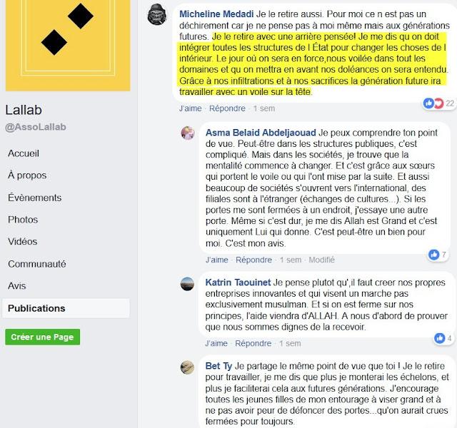 Commentaires d'un article publié par Lallab où sont exposés le désir et la stratégie de conquête de ses militantes