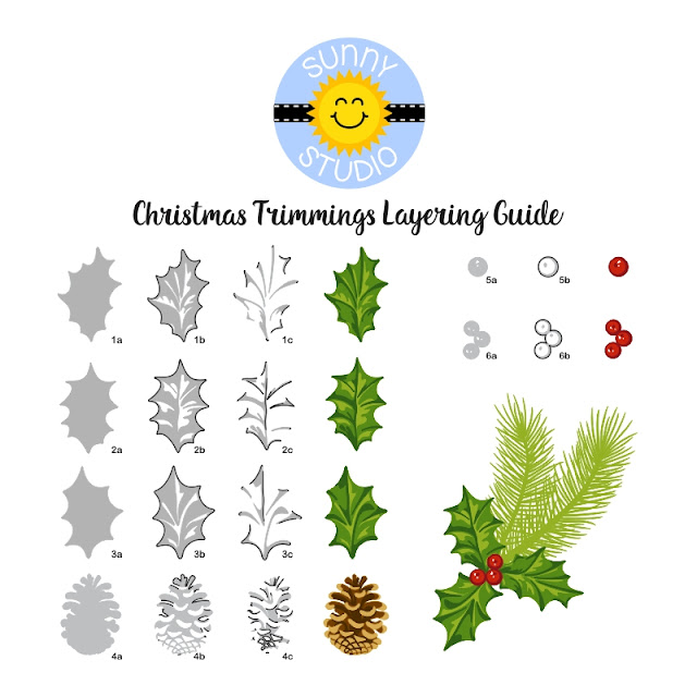 Sunny Studio Stamps: Christmas Trimmings Stamp Layering Guide