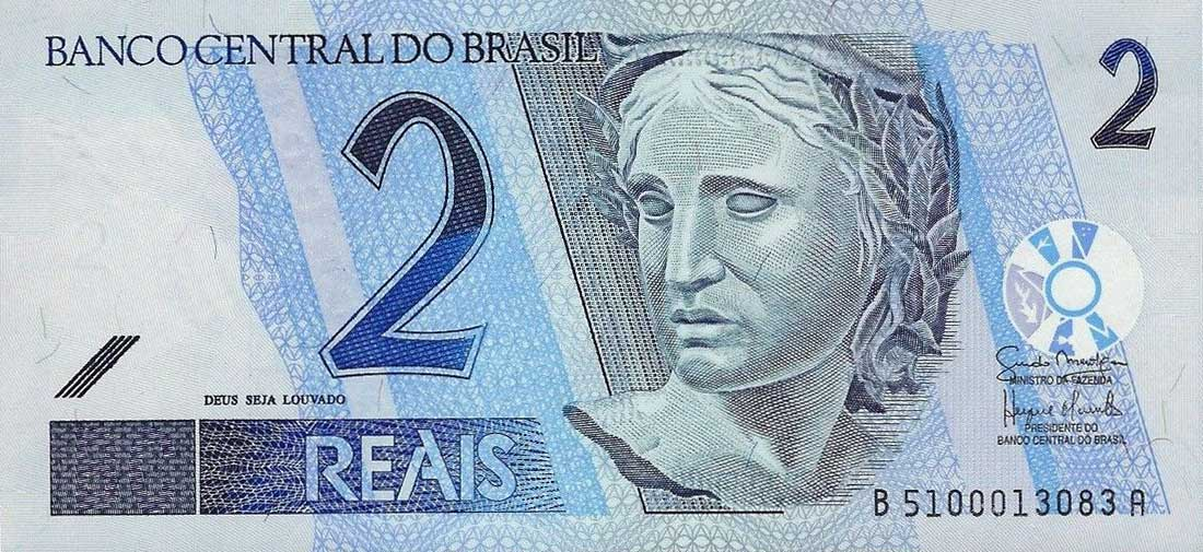 Brazil Currency 2 Reals Banknote 2001 Effigy Of The Republic