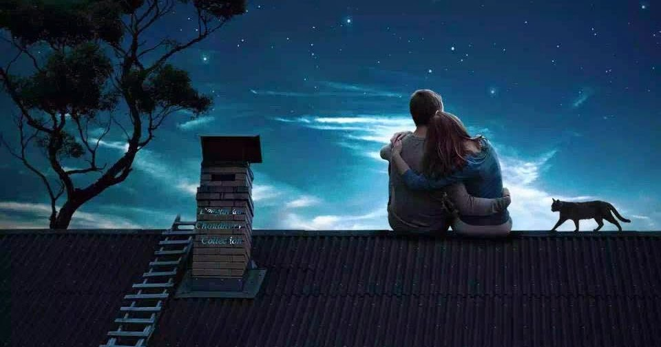 Girl Sitting On Bench Wallpaper Anondo Chhobi Couple On Roof Starry Night